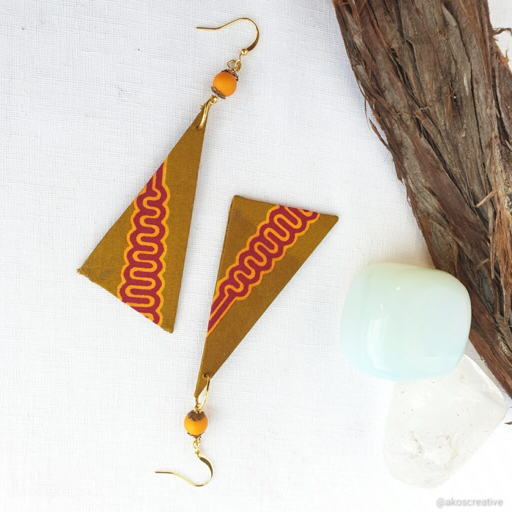 African Print Triangle Gift for Her earrings.