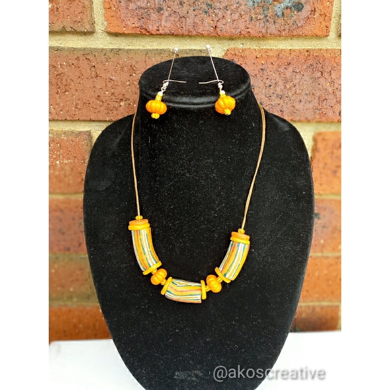 African Chevron Recylced Glass Beads