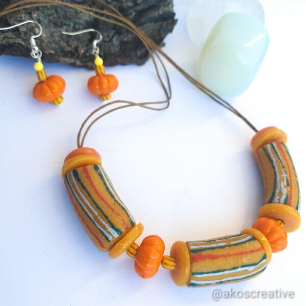 Chevron yellow beads Krobo beads necklace