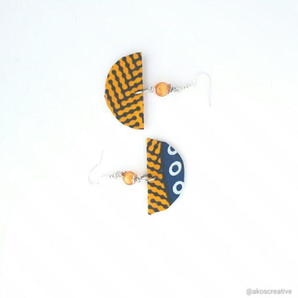 Fabric earrings geometric shape half moon