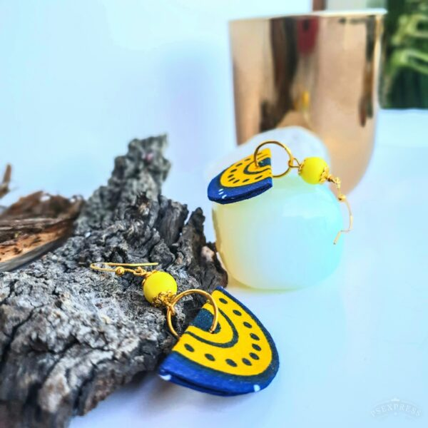 Fabric earrings, Corona blue and Yellow