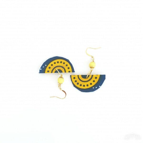 Fabric earrings, Corona blue and Yellow.