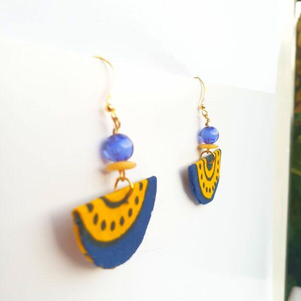 Fabric earrings, Corona blue and Yello