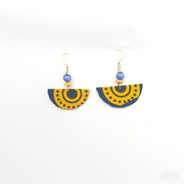 Fabric earrings, Corona blue and Yellow Small.