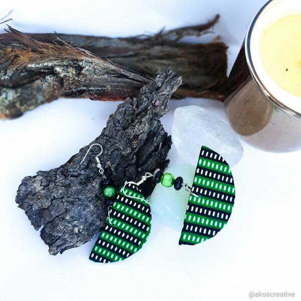 Fabric earrings green sterling silver