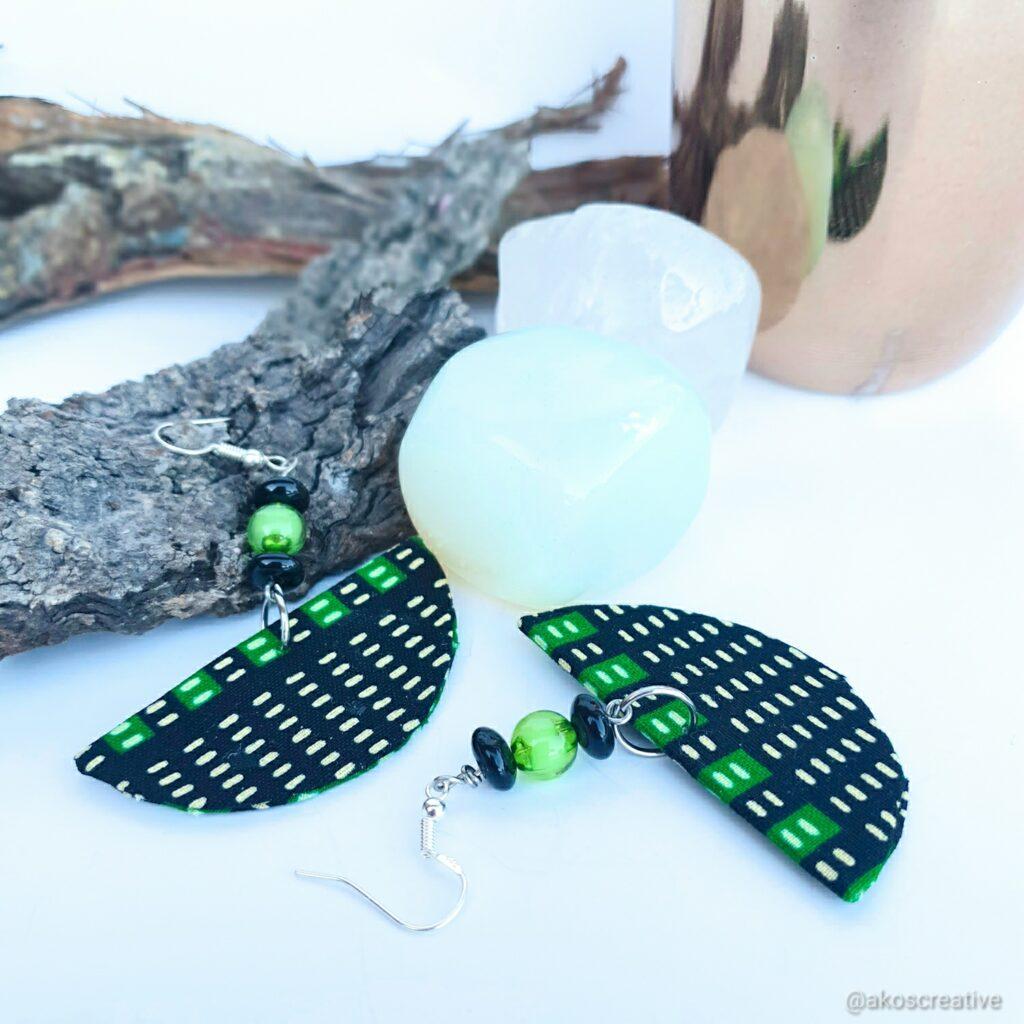 Fabric earrings geometric shape