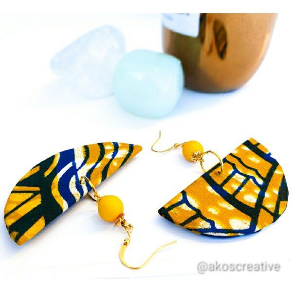 Fabric Earrings Half Moon Geometric Shapes.