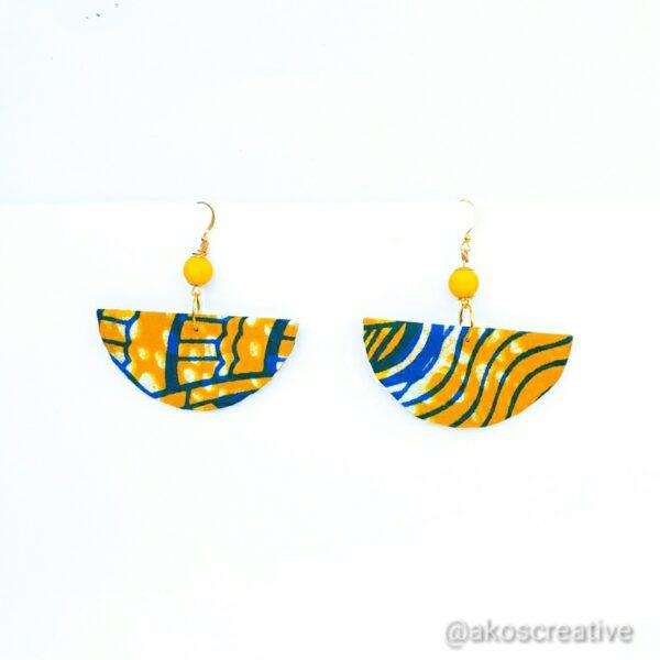 abric Earrings Half Moon Geometric Shapes.