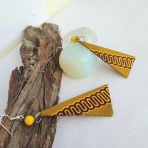 African Print Triangle geometric shape fabric earrings