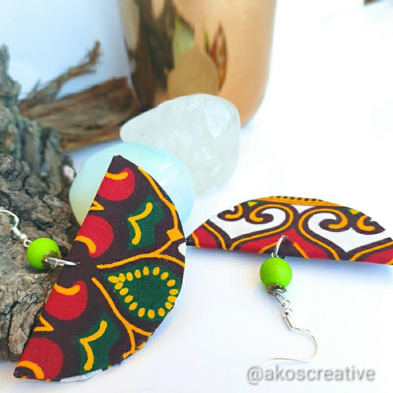 Fabric drop earrings Christmas print fabric