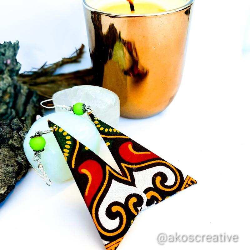 Fabric Earrings Silver Sterling Hooks. Swirls Christmas Tree
