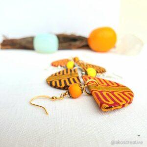 Fabric earrings, Orange and Yello beads