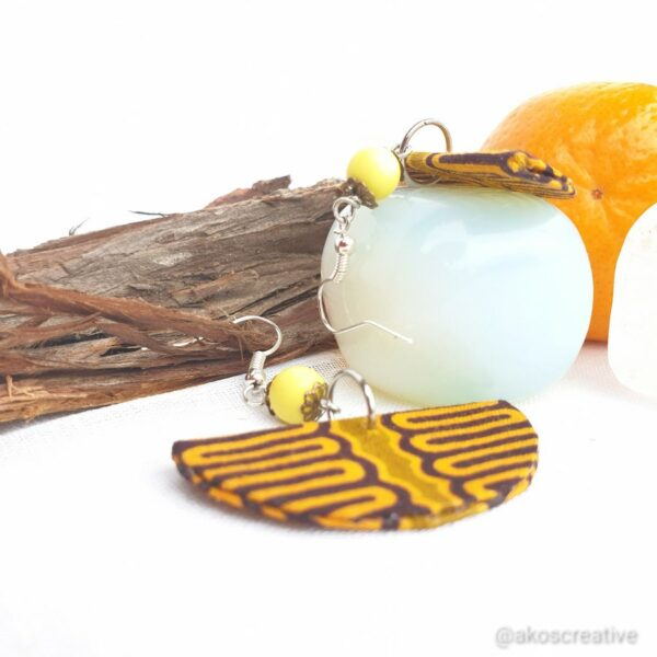 Fabric earrings, Orange and Yello beads Gold Plated