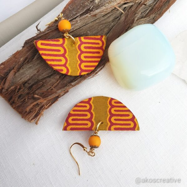 Fabric earrings, Orange and Yellow beads Gold Plated and Sterling silver hooks