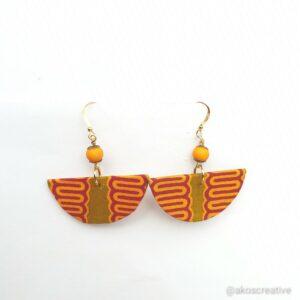 Fabric earrings, Orange and Yellow