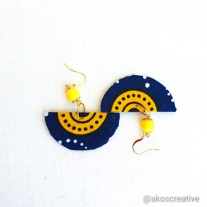 Fabric earrings, Corona blue