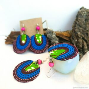 Fabric Earrings Sterling Silver hook Gift for Her Christmas Gifts