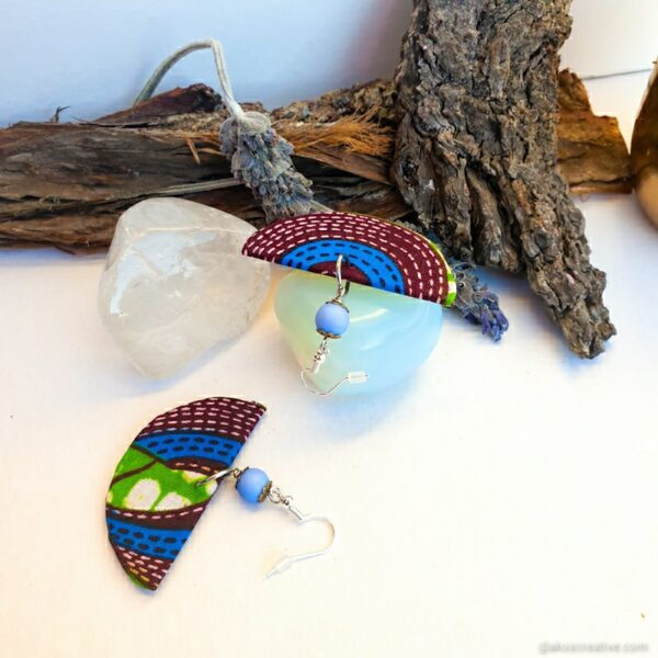 Fabric earrings blue Christmas Gift for Her Sterling silver