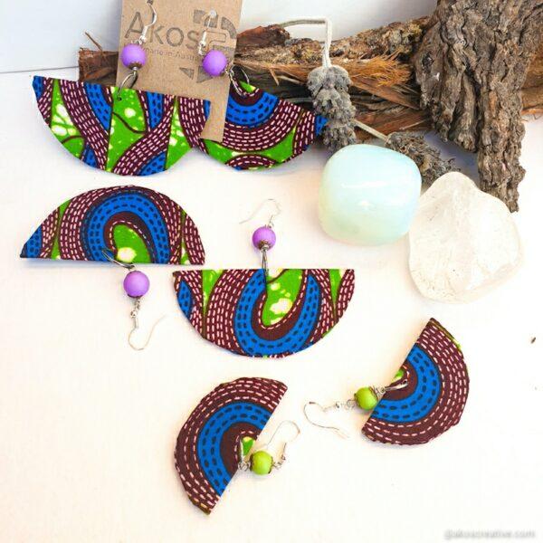 Fabric earrings, purple beads, green beads, geometric earrings