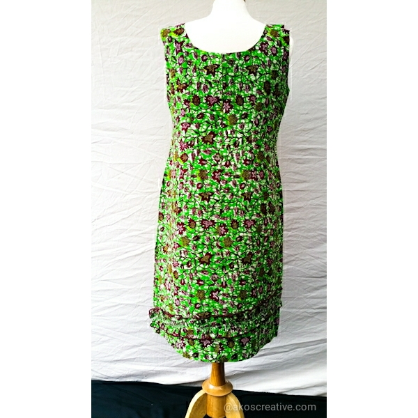 Ladies Fashion Dress Cotton African Print Green floral