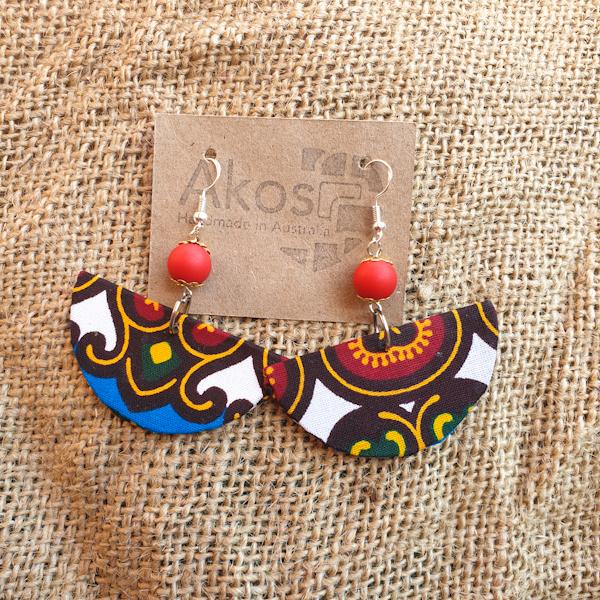 Ladies Fabric Earrings Silver Sterling Hooks Red beads 10mm.