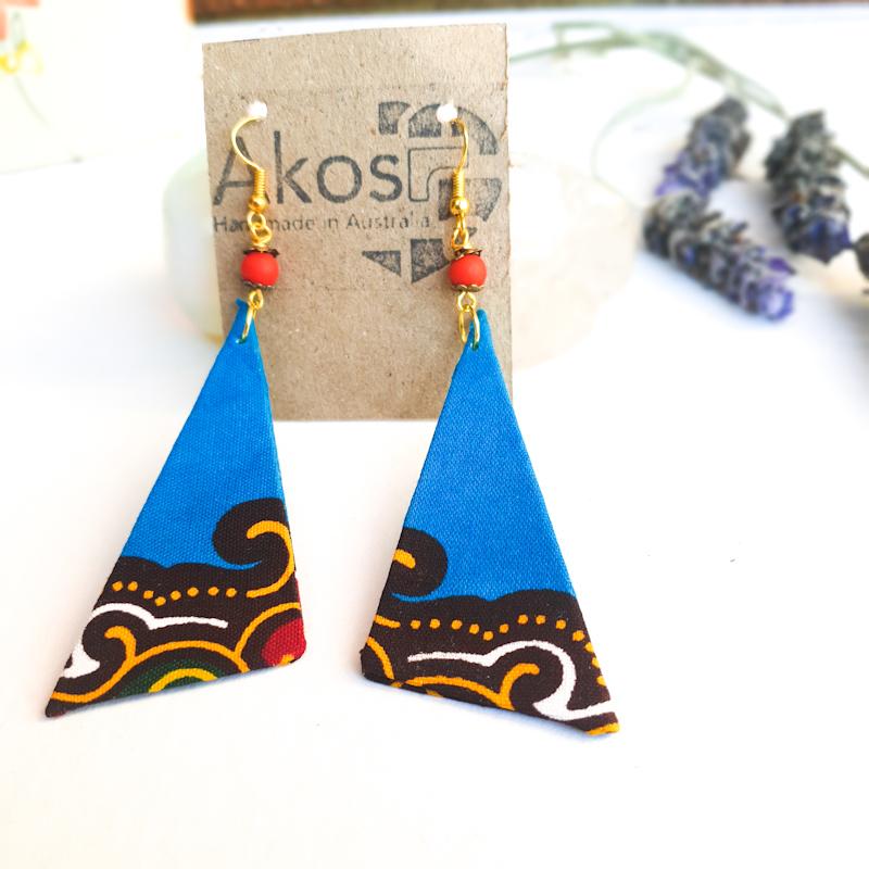 Triangle Fabric earrings blue tone