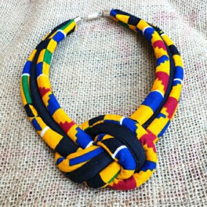 Unisex Fabric Rope Necklace Kente Colorful Bold Statement necklace. Magnetic Clasp