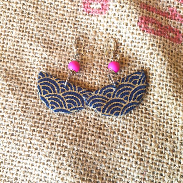 Fabric Earrings Half Moon