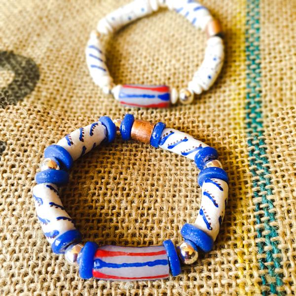 unisex Krobo beads stretch bracelets with copper tube charms. Stretch bracelets