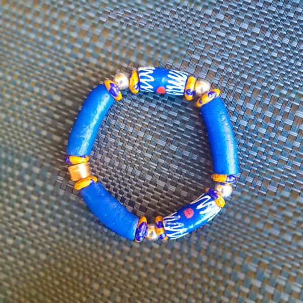 Blue multi coloured recycled Glass beads, Krobo beads, stretch beaded bracelets